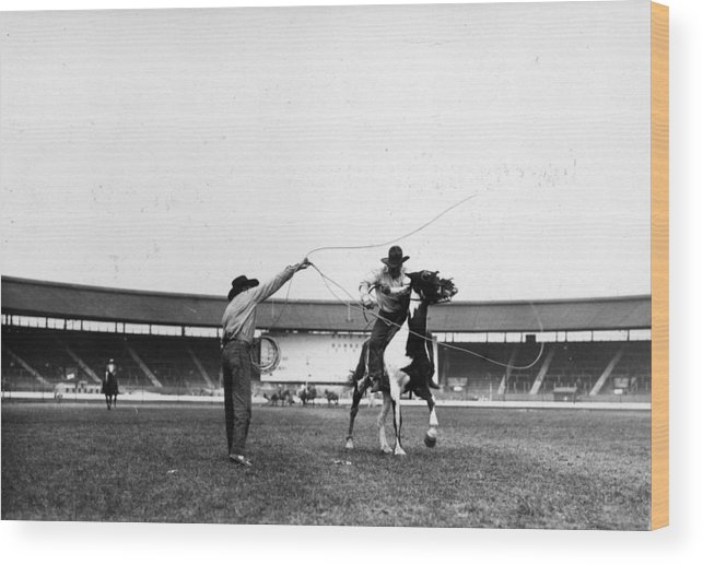 Horse Wood Print featuring the photograph Rodeo Cowboy by Fox Photos