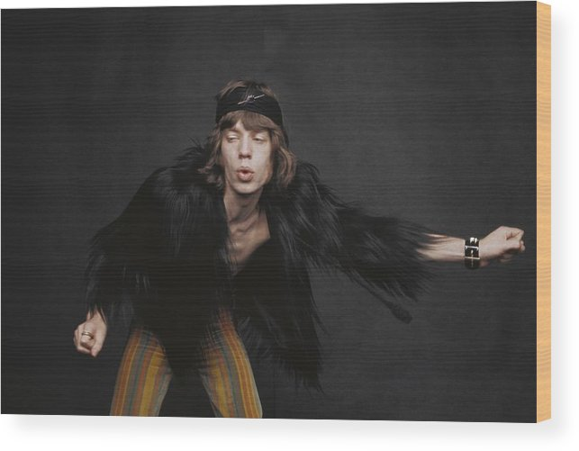Mick Jagger Wood Print featuring the photograph Rolling Stones Singer by Michael Ochs Archives