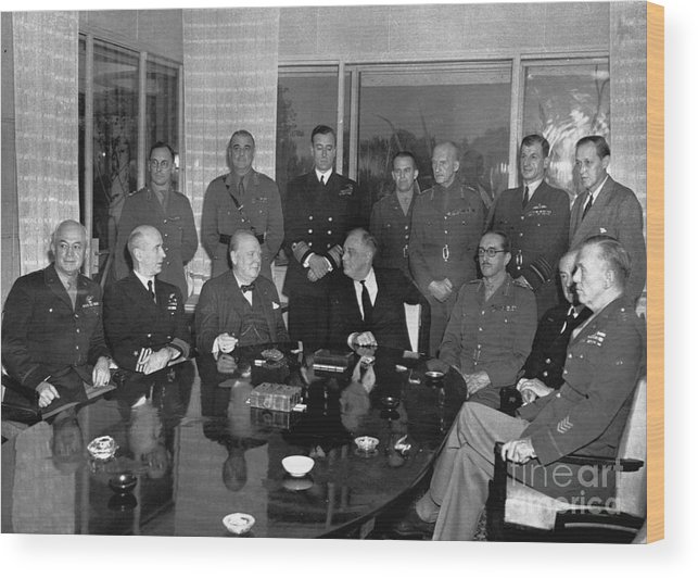 Mature Adult Wood Print featuring the photograph Roosevelt And Churchill Meeting by Bettmann