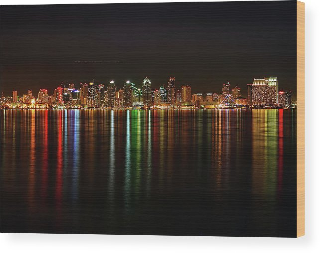 California Wood Print featuring the photograph San Diego Skyline From Harbor Island by David Toussaint