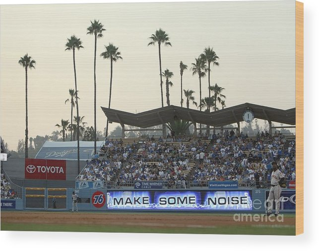 California Wood Print featuring the photograph San Francisco Giants V Los Angeles by Jed Jacobsohn