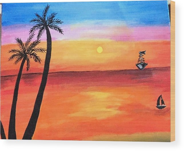 Canvas Wood Print featuring the painting Scenary by Aswini Moraikat Surendran