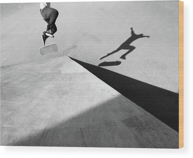 Shadow Wood Print featuring the photograph Shadow Of Skateboarder by Mgs