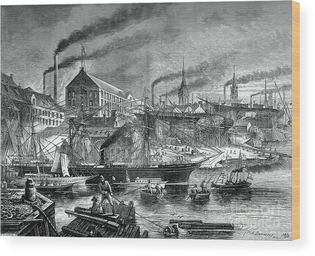 Engraving Wood Print featuring the drawing Shipyards And Shipping On The Clyde by Print Collector