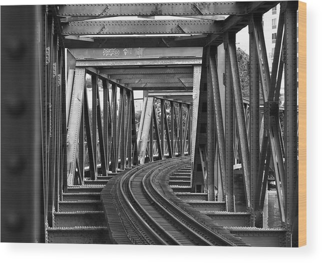 Railroad Track Wood Print featuring the photograph Steel Girder Railway Bridge by Peterjseager