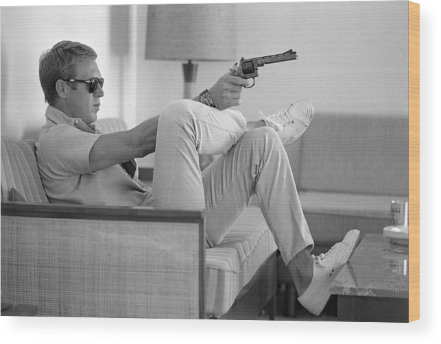 Steve Mcqueen Wood Print featuring the photograph Steve Mcqueen Takes Aim by John Dominis