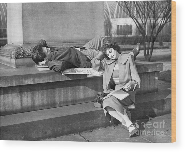Education Wood Print featuring the photograph Students Study Outdoors In Warm Sun by Bettmann