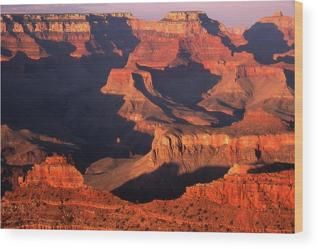 Toughness Wood Print featuring the photograph Sunset Over Grand Canyon by By Tiina Gill