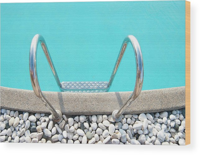 Tranquility Wood Print featuring the photograph Swimming Pool With White Pebbles by Lawren