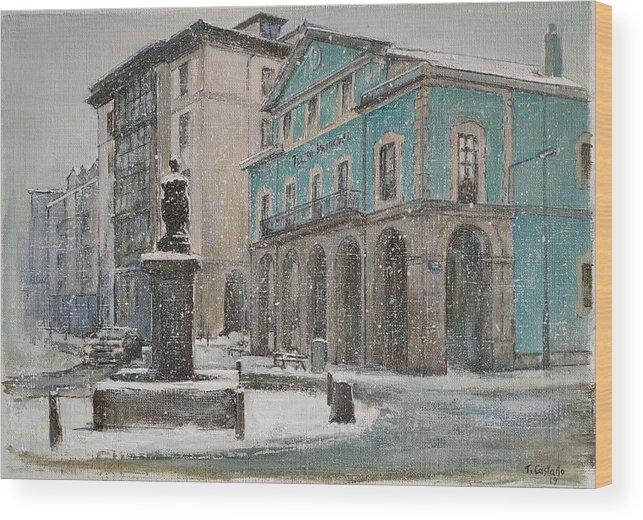 Teatro Wood Print featuring the painting Teatro Principal.Reinosa by Tomas Castano