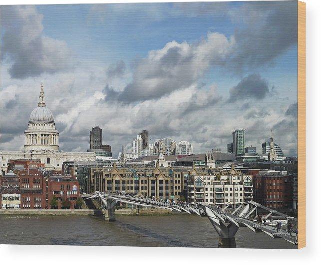 London Millennium Footbridge Wood Print featuring the photograph The London Skyline Towards St Pauls by Eyespy