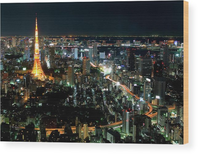 Tokyo Tower Wood Print featuring the photograph Tokyo Tower by Andreas Jensen