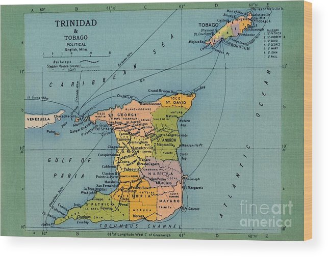 Trinidad And Tobago Wood Print featuring the drawing Trinidad & Tobago Map by Print Collector