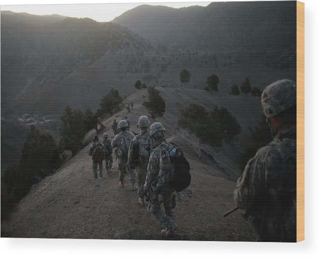 War Wood Print featuring the photograph Us Army Searches For Militants In by Chris Hondros