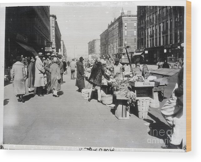People Wood Print featuring the photograph Vegetable Stands In Harlem by Bettmann