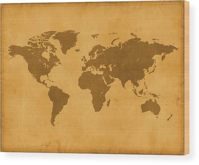 Material Wood Print featuring the photograph Vintage Map Of The World In Brown by Yorkfoto