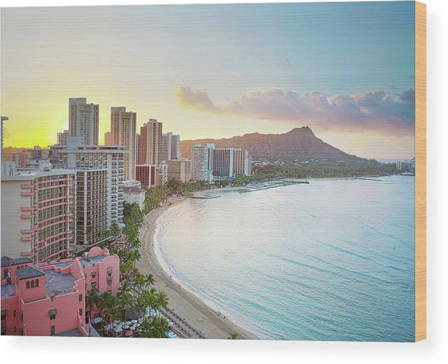 Scenics Wood Print featuring the photograph Waikiki Beach At Sunrise by M Swiet Productions