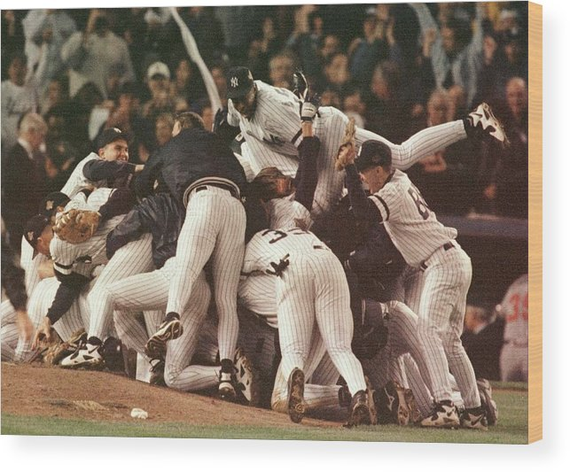 Celebration Wood Print featuring the photograph World Series 6 Yankees by Al Bello