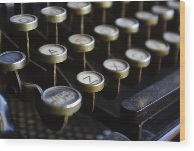 Typewriter Wood Print featuring the photograph Written -- Love Is Feeling by Oscar Martín