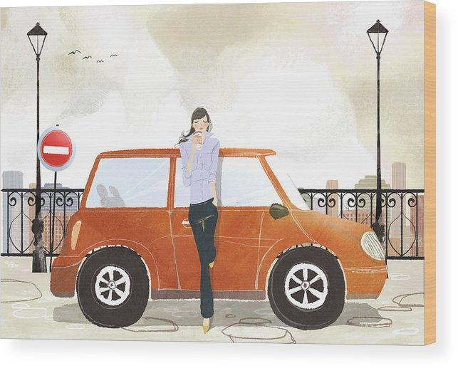People Wood Print featuring the digital art Young Woman Standing In Front Of Car by Eastnine Inc.