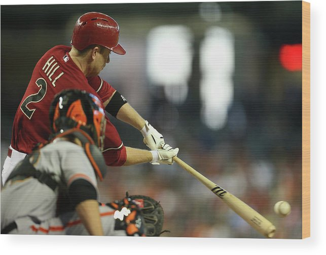 National League Baseball Wood Print featuring the photograph Aaron Hill by Christian Petersen