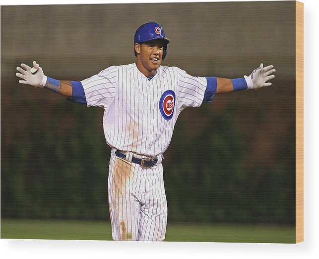 Three Quarter Length Wood Print featuring the photograph Addison Russell by Jonathan Daniel