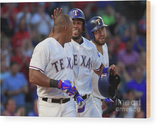 Adrian Beltre Wood Print featuring the photograph Adrian Beltre, Elvis Andrus, and Nomar Mazara by Tom Pennington