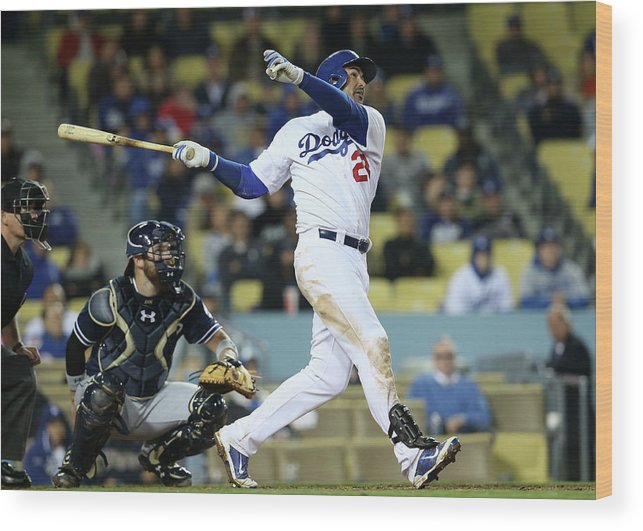 American League Baseball Wood Print featuring the photograph Adrian Gonzalez by Stephen Dunn