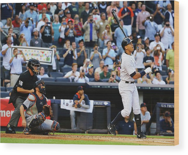 People Wood Print featuring the photograph Alex Rodriguez and Justin Verlander by Al Bello
