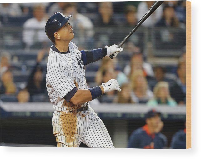 Following Wood Print featuring the photograph Alex Rodriguez by Jim Mcisaac