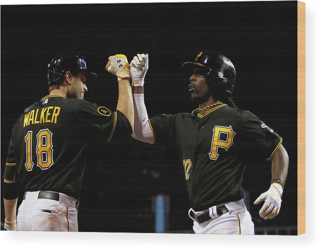 Professional Sport Wood Print featuring the photograph Andrew Mccutchen and Neil Walker by Justin K. Aller