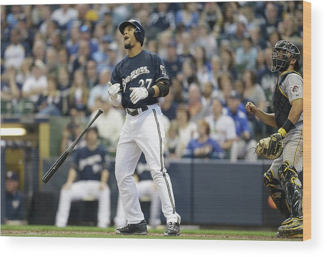 American League Baseball Wood Print featuring the photograph Carlos Gomez by Jeffrey Phelps