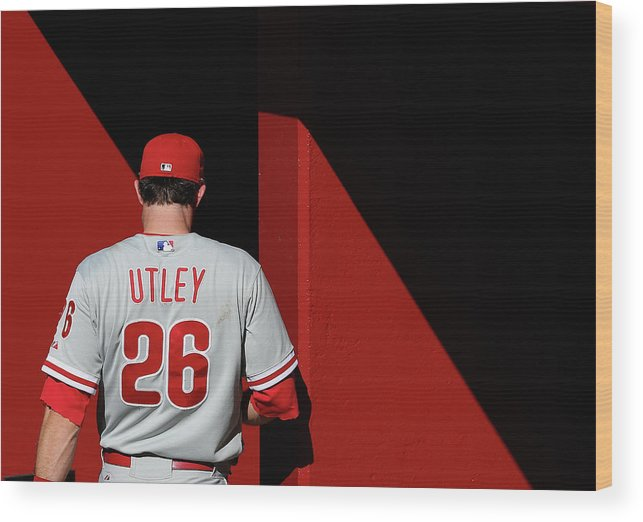 Following Wood Print featuring the photograph Chase Utley by Christian Petersen