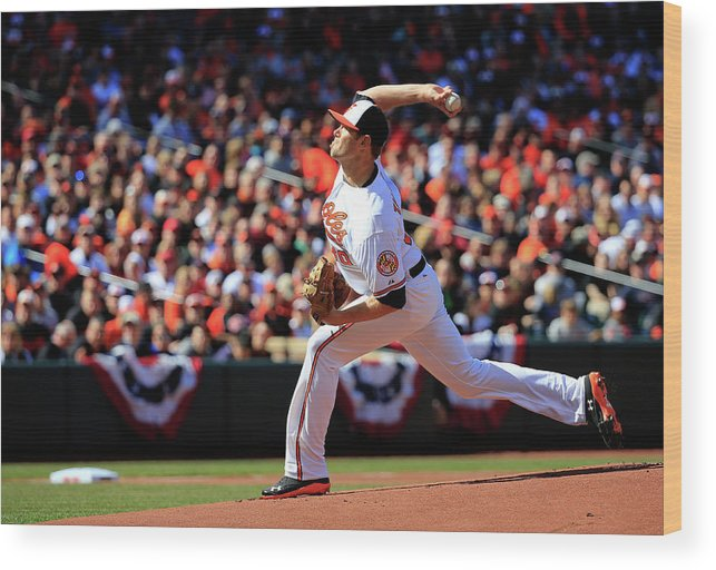 American League Baseball Wood Print featuring the photograph Chris Tillman by Rob Carr
