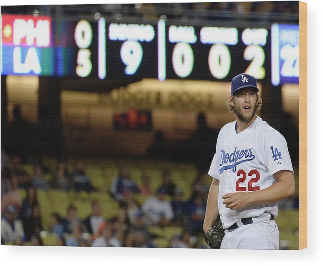 Ninth Inning Wood Print featuring the photograph Clayton Kershaw by Kevork Djansezian