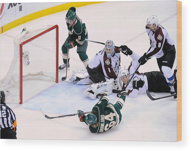 Playoffs Wood Print featuring the photograph Colorado Avalanche v Minnesota Wild - Game Three by Hannah Foslien