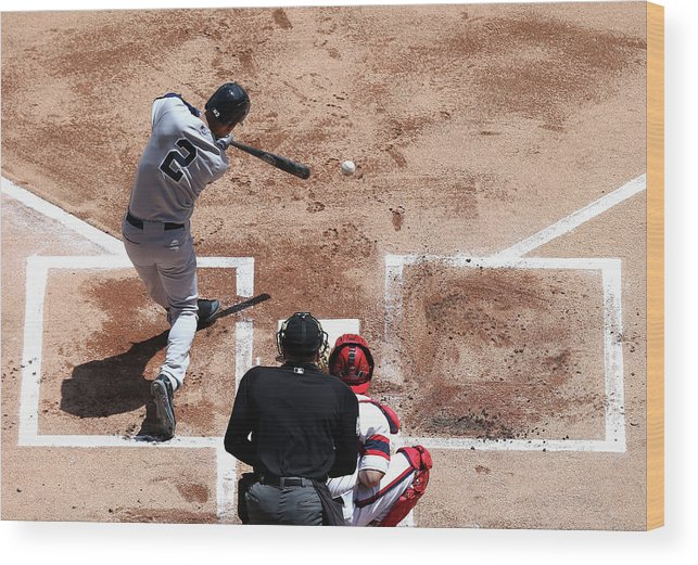 American League Baseball Wood Print featuring the photograph Derek Jeter by Jonathan Daniel