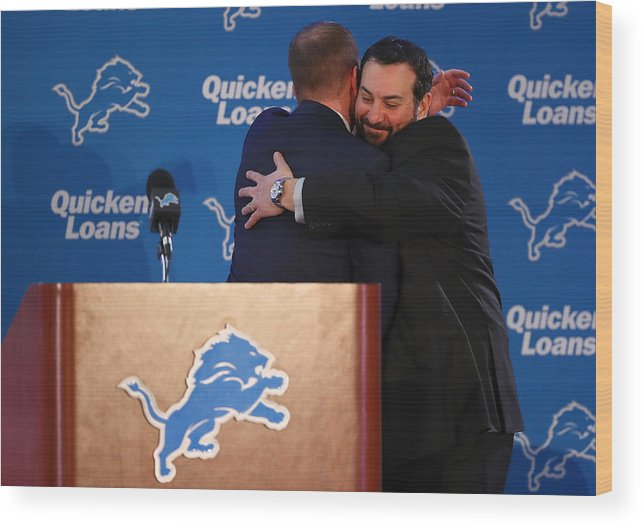 People Wood Print featuring the photograph Detroit Lions Introduce Matt Patricia by Gregory Shamus