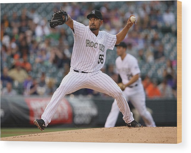 Baseball Pitcher Wood Print featuring the photograph Franklin Morales by Doug Pensinger