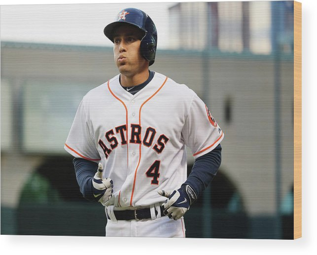 American League Baseball Wood Print featuring the photograph George Springer by Scott Halleran