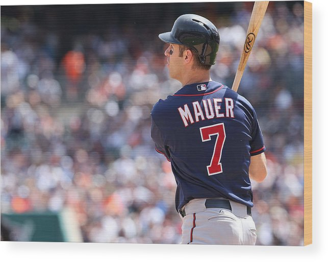 Joe Mauer Wood Print featuring the photograph Joe Mauer by Leon Halip
