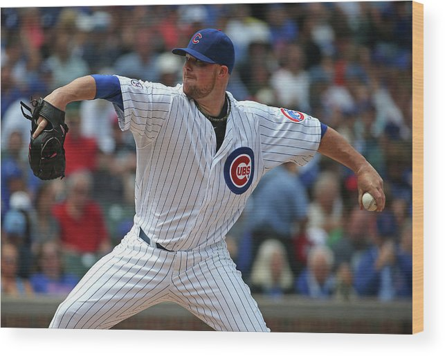 Three Quarter Length Wood Print featuring the photograph Jon Lester by Jonathan Daniel