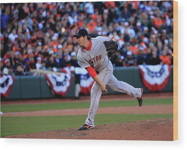 American League Baseball Wood Print featuring the photograph Junichi Tazawa by Rob Carr