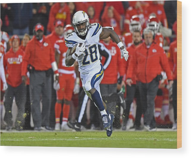 People Wood Print featuring the photograph Los Angeles Chargers v Kansas City Chiefs by Peter G. Aiken
