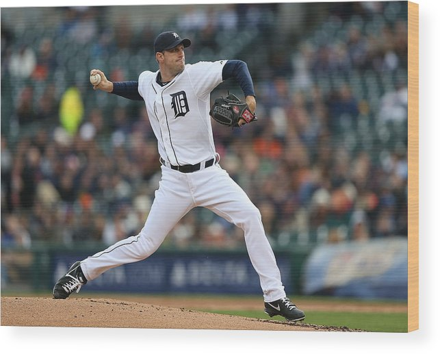 American League Baseball Wood Print featuring the photograph Max Scherzer by Leon Halip