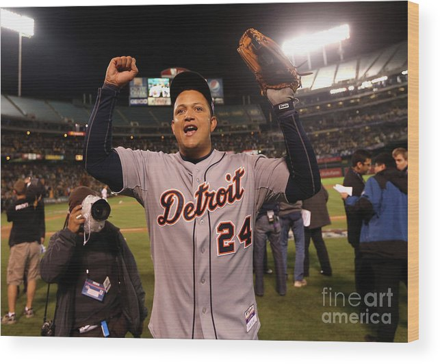 American League Baseball Wood Print featuring the photograph Miguel Cabrera by Ezra Shaw