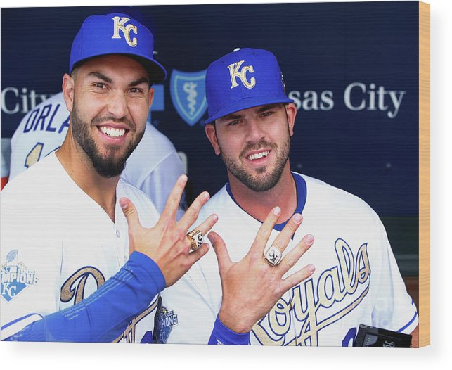 People Wood Print featuring the photograph Mike Moustakas and Eric Hosmer by Jamie Squire