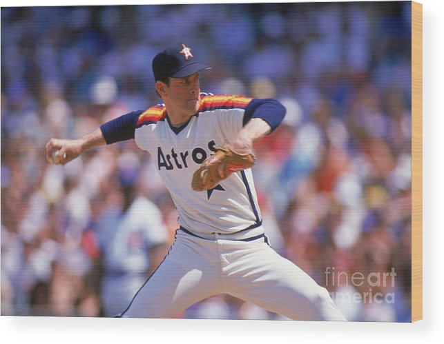 1980-1989 Wood Print featuring the photograph Nolan Ryan by Ron Vesely