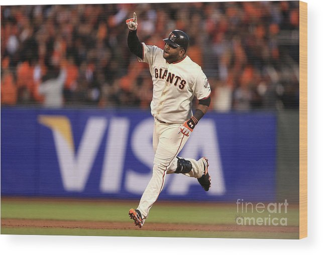 San Francisco Wood Print featuring the photograph Pablo Sandoval and Justin Verlander by Doug Pensinger