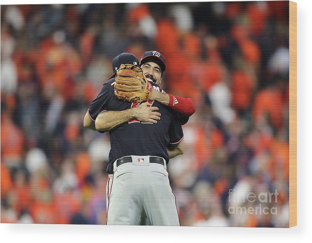 American League Baseball Wood Print featuring the photograph Ryan Zimmerman and Anthony Rendon by Elsa